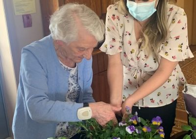 Planting with Amee at Barrie Retirement Home